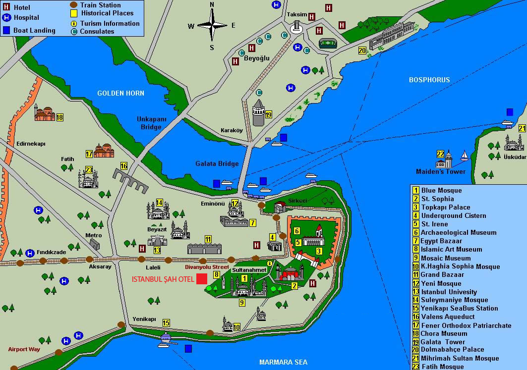 Istanbul Maps Luxury Turkey Tours and Private Turkey Tours – Istanbul Tourist Map